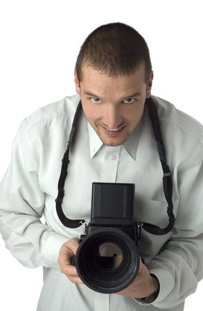 businesswear: proffesional photographer with medium format camera on white