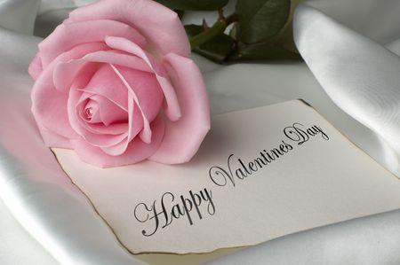 happy valentines day card with pink rose Stock Photo