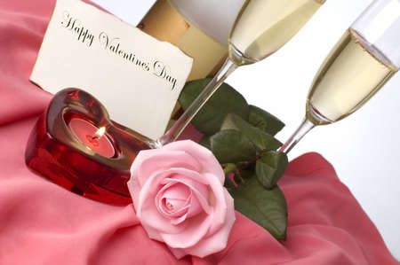 champagne arrangement for valentines day with pink rose photo