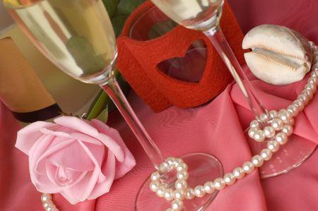 valentine arangement with pink rose, champagne photo