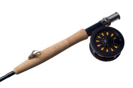 fly fishing rod on white close up photo