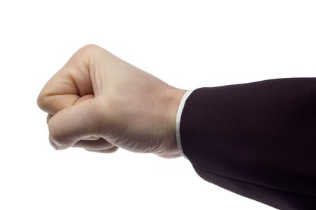 enraged: business men hand on white close up Stock Photo