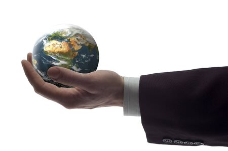 business hand holding globe on white background