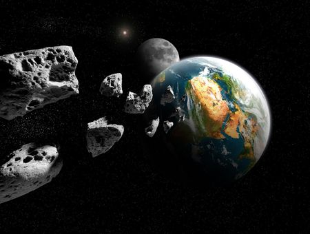 asteroid pieces incoming with moon in background Stock Photo