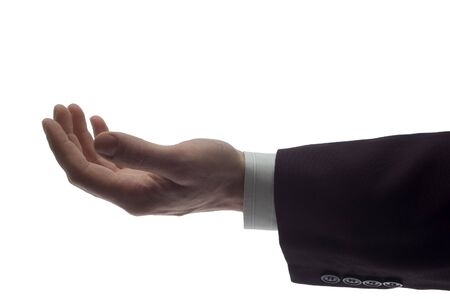 recive: business men holding empty hand close up on white