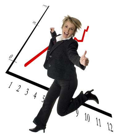 business women success expression jump with graph in background