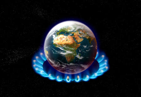 planet earth over heated on flames - global warming concept photo