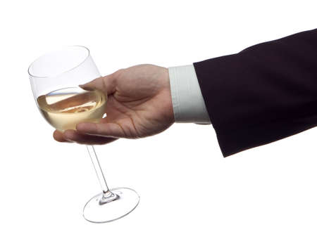 marrage: business men with glass of white wine on white