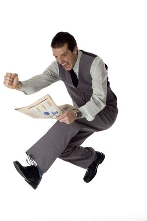 business men jumping with newspaper in hands on white- success concept photo