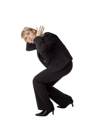 business vrouwen uitvoeren niets op haar rug op wit Stockfoto