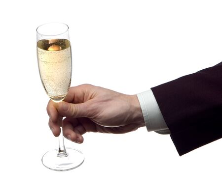 marrage: business men with glass of champagne on white