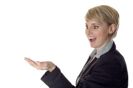 business women looking in her hempty hand on white