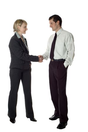 young business couple handshaking on white Stock Photo - 743981