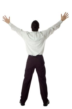 business man with success expression hands up on white Stock Photo - 743985
