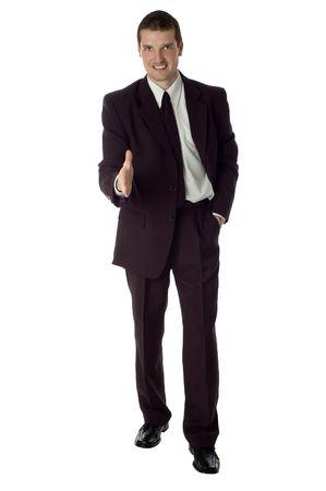 business men hand shake on white background
