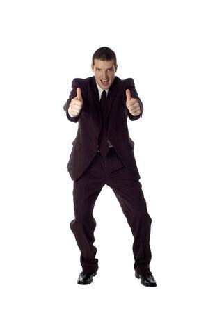 positivismo: hombres de negocios que est�n parados de fabricaci�n de la expresi�n feliz en blanco
