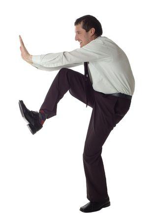 business men pushing something on white background