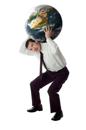 work load: business men carrying planet earth on white background Stock Photo