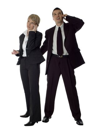 young business couple standing on white background photo