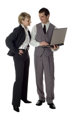 young business couple with laptop on white photo