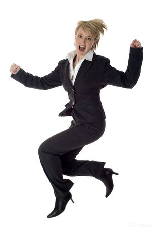 young business women success jumping on white Stock Photo