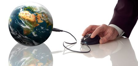 computer mouse conected to planeth earth concept photo