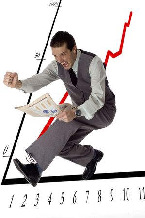 business men jumping with newspaper in hands on white- success concept Stock Photo - 759784