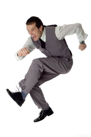 business men jumping on white - success concept Stock Photo - 765735