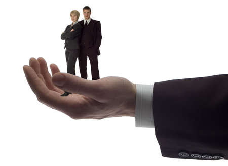 business men holding  business couple on white