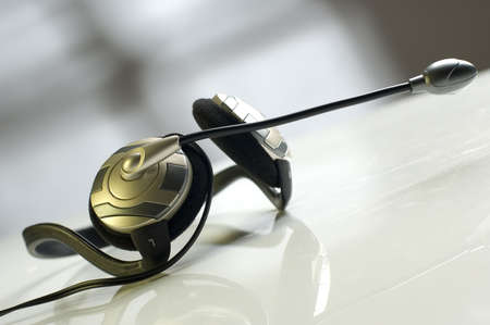 muffs: modern headphones with microphone close up shoot Stock Photo