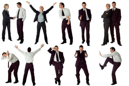 multiple business men isolated on white background photo