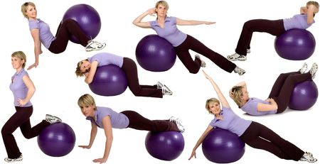 ball stretching: multiple young womn stretching with ball on white background