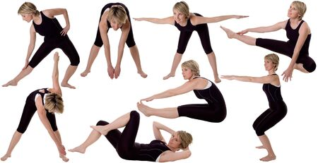multiple young women stretching on white background photo