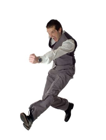 business men jumping on white - success concept Stock Photo - 777906