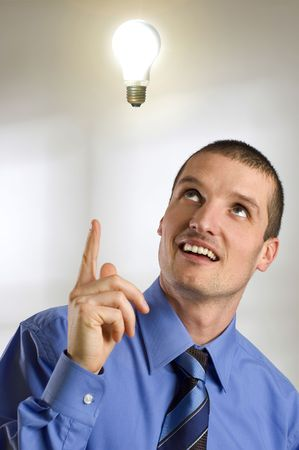 man portrait with bulb over his head