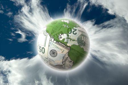 thrive: dollar bill globe on the blue cloudy sky concept