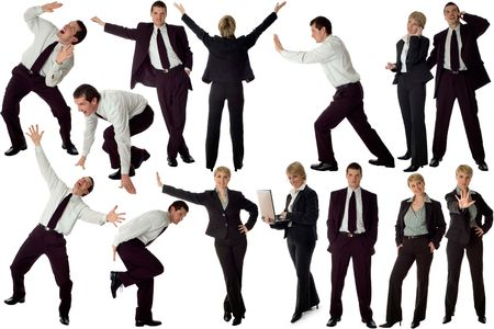 multiple business men isolated on white background Stock Photo - 800407