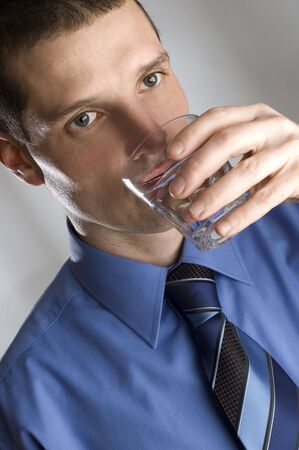 young business men drinking fresh water portrait photo