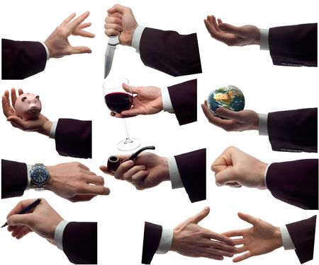 approbation: multiple business hands isolated on white background
