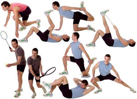 hombres haciendo ejercicio: hombres j�venes m�ltiples que ejercitan en el fondo blanco