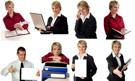 situations: multiple business figures in various situations on white Stock Photo
