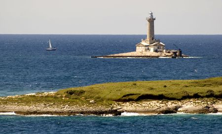 nautic: Lighthouse in north croatia on a sunny day Stock Photo