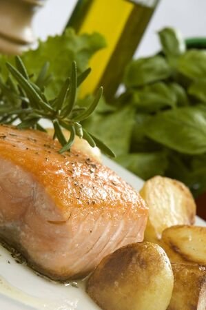baked salmon steak with potato and rosemary Stock Photo - 952776