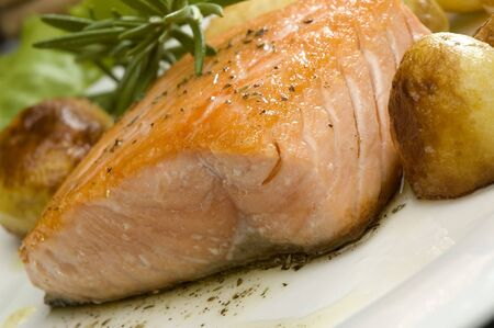 baked salmon steak with potato and rosemary Stock Photo - 959336