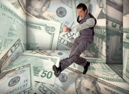 business men success jump in dollar room concept Stock Photo - 969824