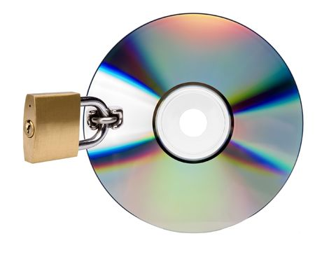 compact disc locked on white background close up photo