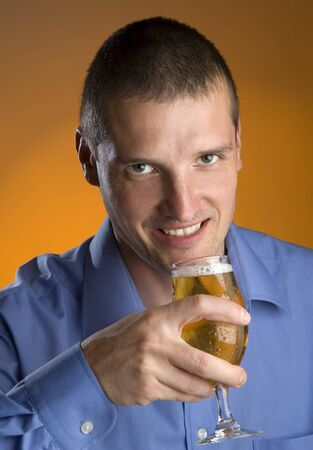 young business men drinking cold beer portrait Stock Photo - 1005030