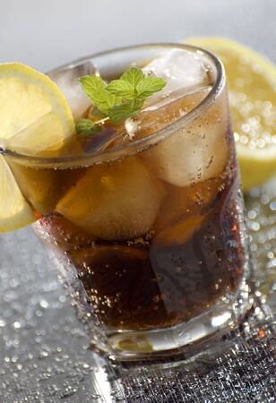 cold cuba libre drink close up shoot