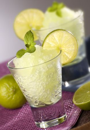slush: fresh lime granita with mint close up Stock Photo