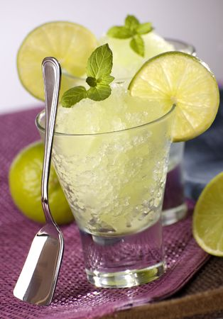 sorbet: fresh lime granita with mint close up Stock Photo